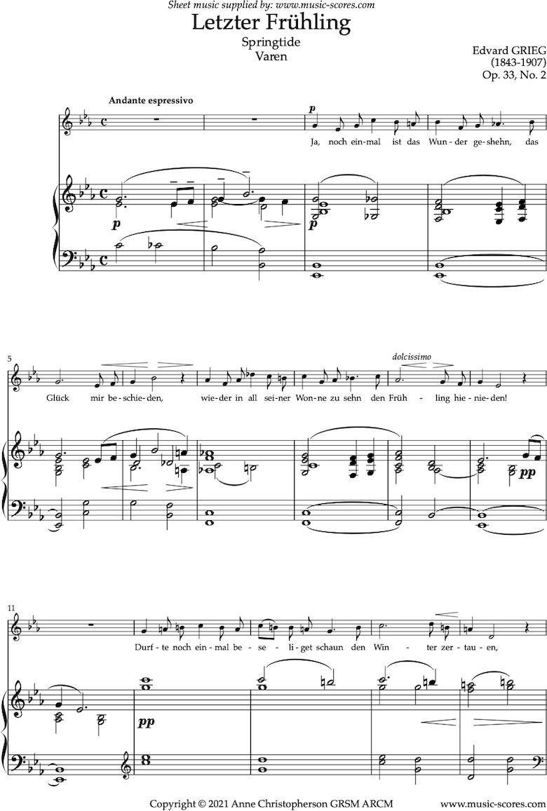 Front page of Op.33, No.2: Varen, or Springtide, or Letzter Fruhling. Voice, Eb sheet music