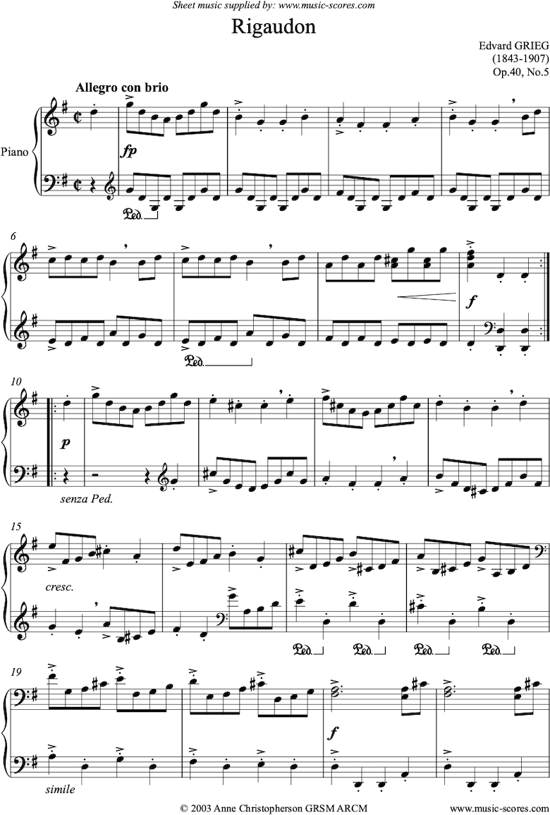 Front page of Op.40, No.5: Rigaudon sheet music