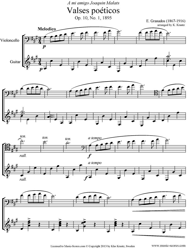Valses Poeticos: Op.10 No.1: Cello, Guitar by Granados