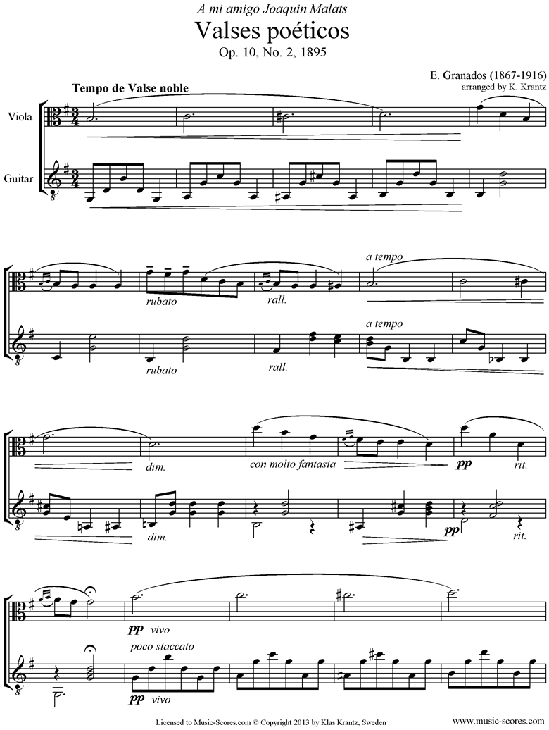 Front page of Valses Poeticos: Op.10 No.2: Viola, Guitar sheet music