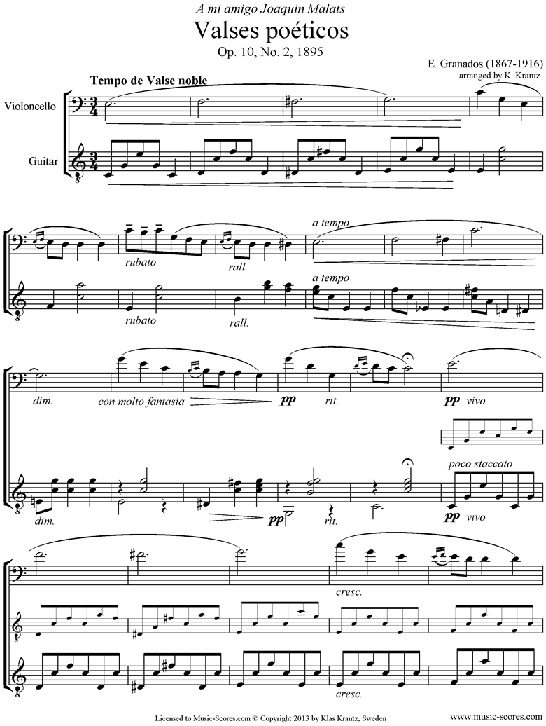 Front page of Valses Poeticos: Op.10 No.2: Cello, Guitar sheet music