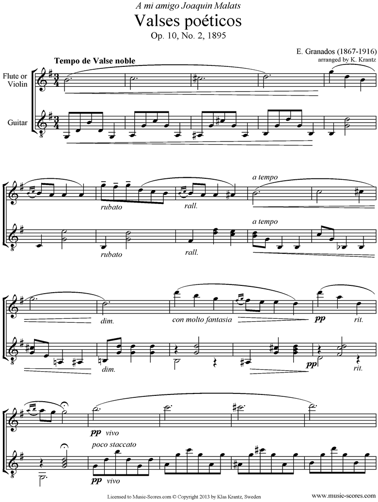 Front page of Valses Poeticos: Op.10 No.2: Violin, Guitar sheet music