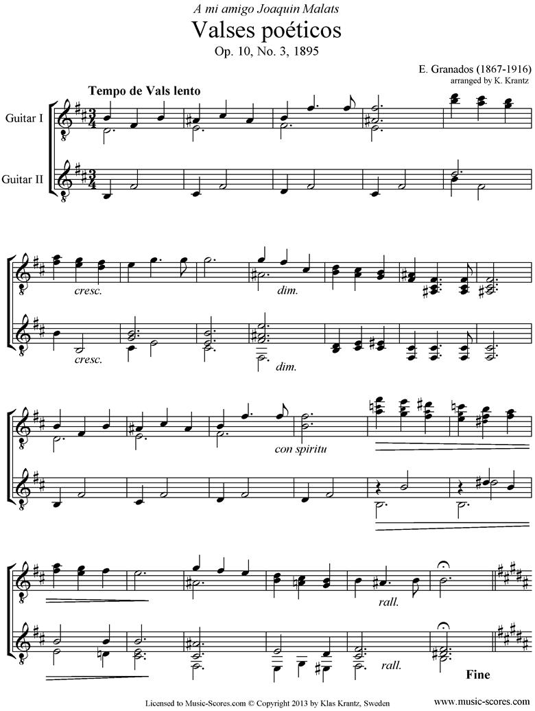 Valses Poeticos: Op.10 No.3: 2 Guitars. by Granados