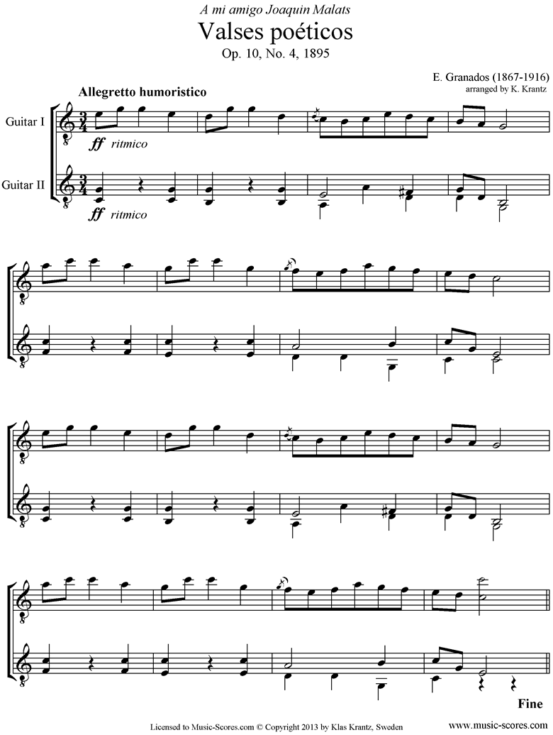 Front page of Valses Poeticos: Op.10 No.4: 2 Guitars sheet music