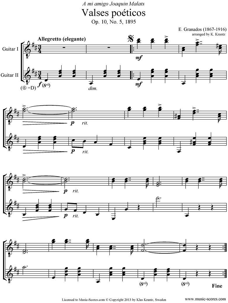 Valses Poeticos: Op.10 No.5: 2 Guitars by Granados