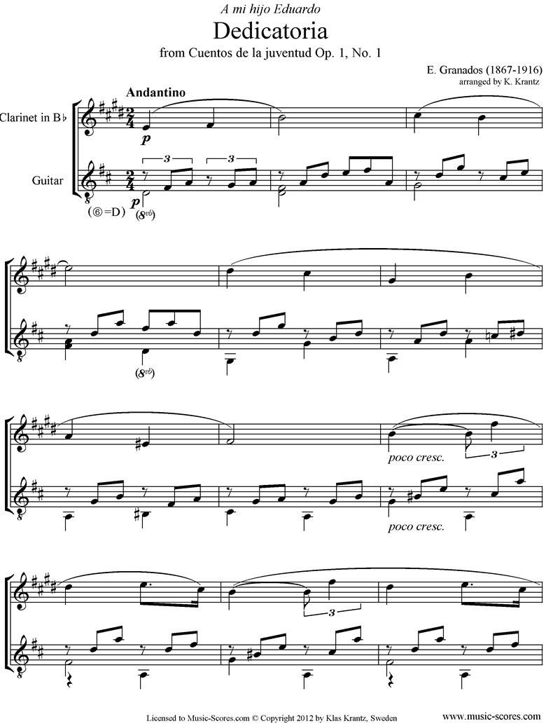 Dedicatoria: Op.1 No.1: Clarinet, Guitar. by Granados