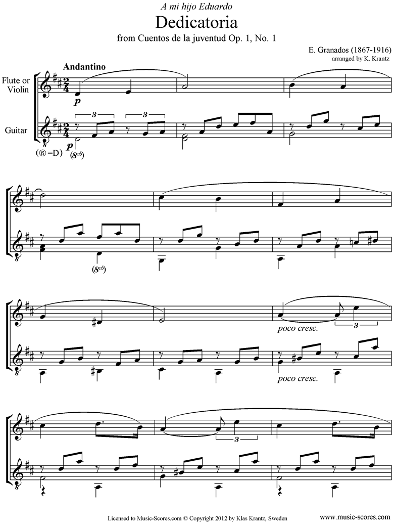 Front page of Dedicatoria: Op.1 No.1: Flute, Guitar. sheet music