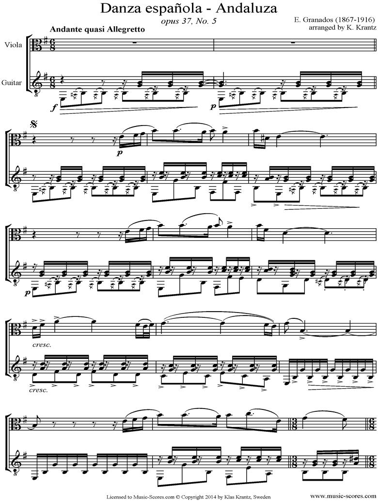 Danzas Espanolas No. 5: Andaluza Viola, Guitar. by Granados