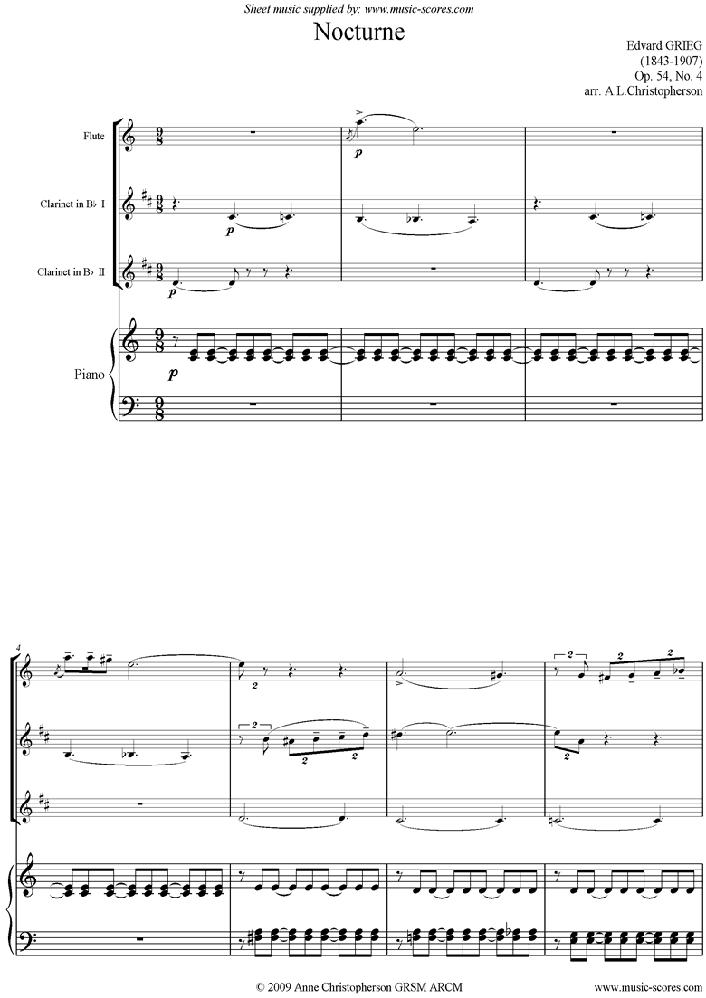 Front page of Op.54: Nocturne No. 4, Flute, 2 Clarinets, Piano sheet music