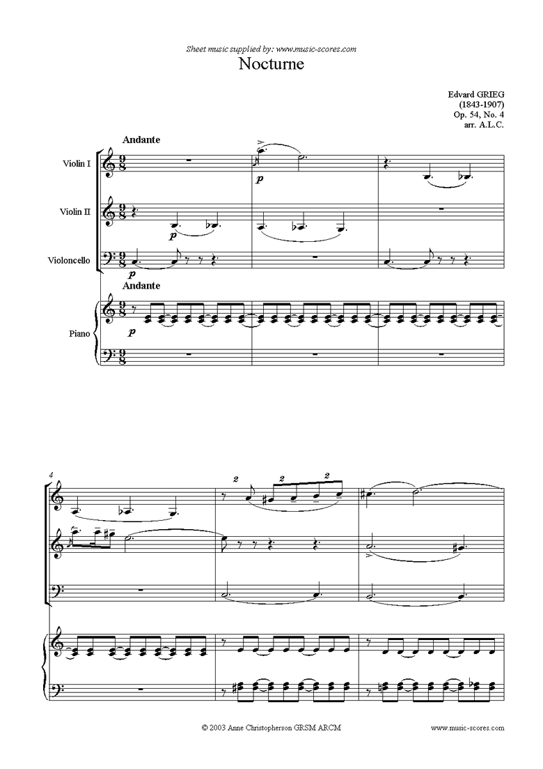 Front page of Op.54: Nocturne No.4, 2 Violins, Cello, Piano sheet music