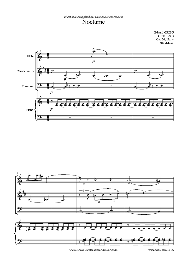 Front page of Op.54: Nocturne No.4, Flute, Clarinet, Bassoon, Piano sheet music
