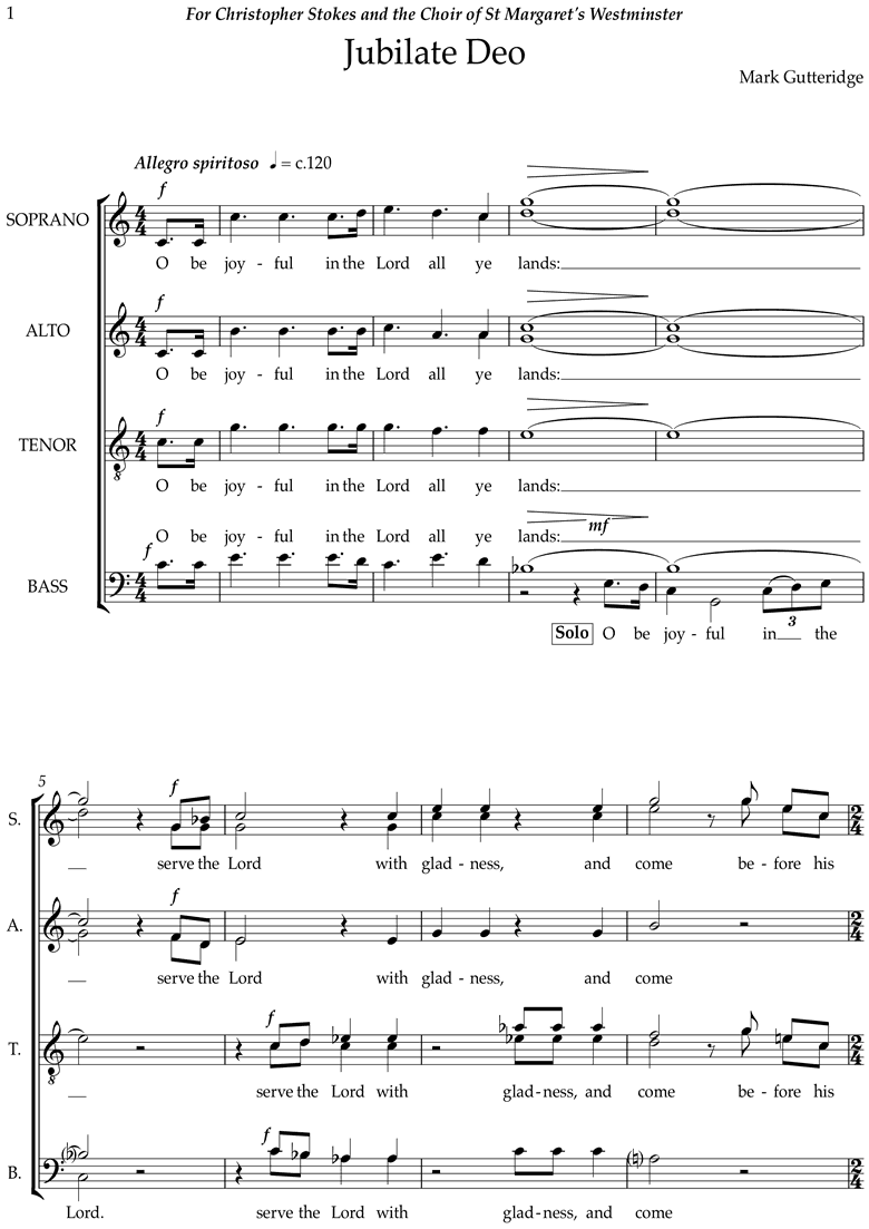 Front page of Jubilate Deo sheet music