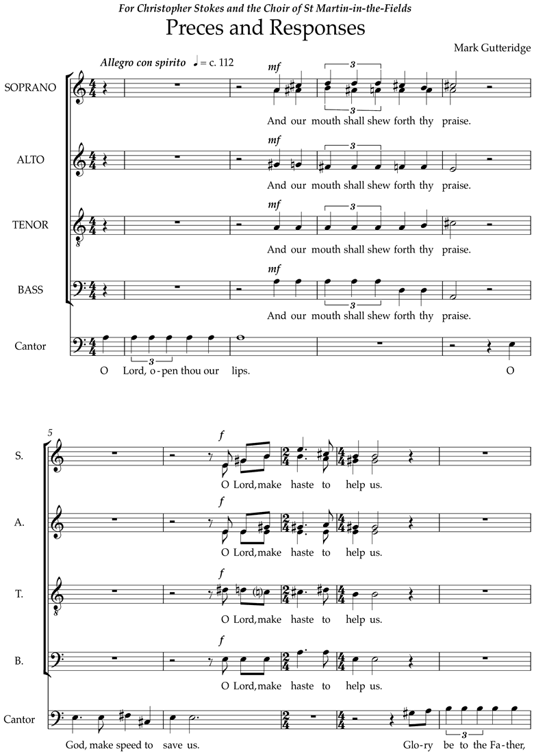 Front page of Preces and Responses sheet music