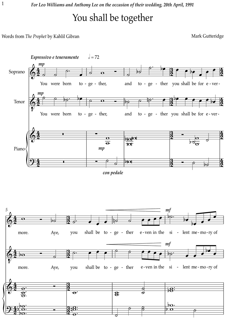 Front page of You Shall Be Together: Voice sheet music