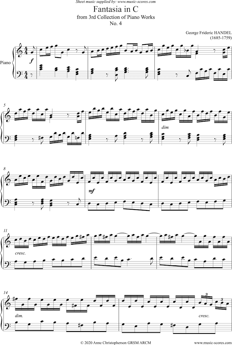 Front page of Fantasia in C: Harpsichord sheet music