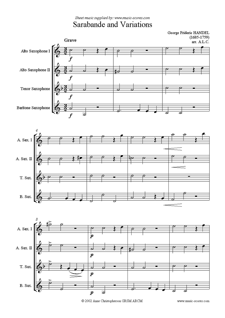 Front page of Sarabande and Variations: Suite No. 4 in Dmi: Sax 4 sheet music