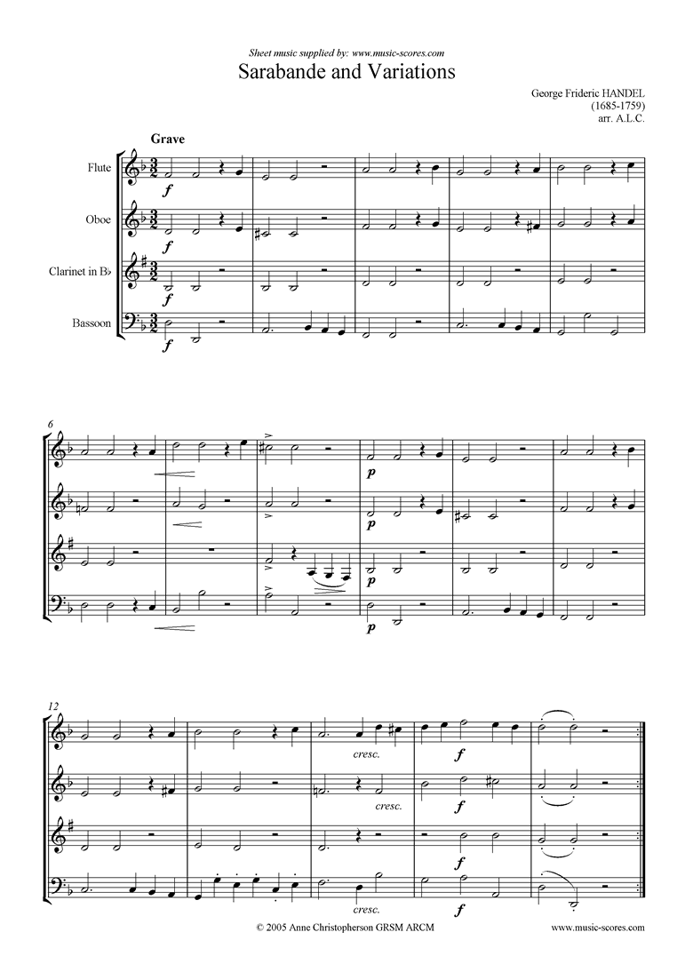 Front page of Sarabande and Variations: Suite No. 4 in Dmi: Wind sheet music