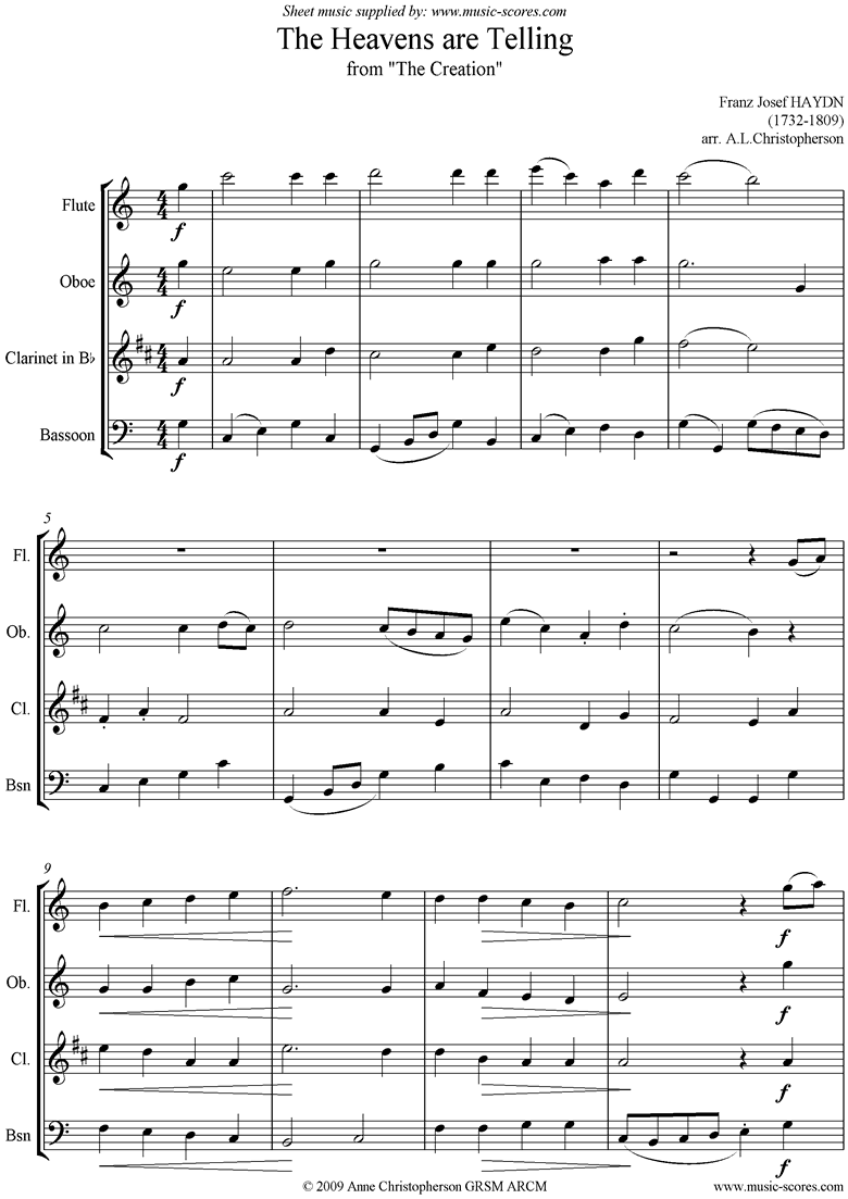 Front page of The Creation: The Heavens are Telling: Wind 4 sheet music