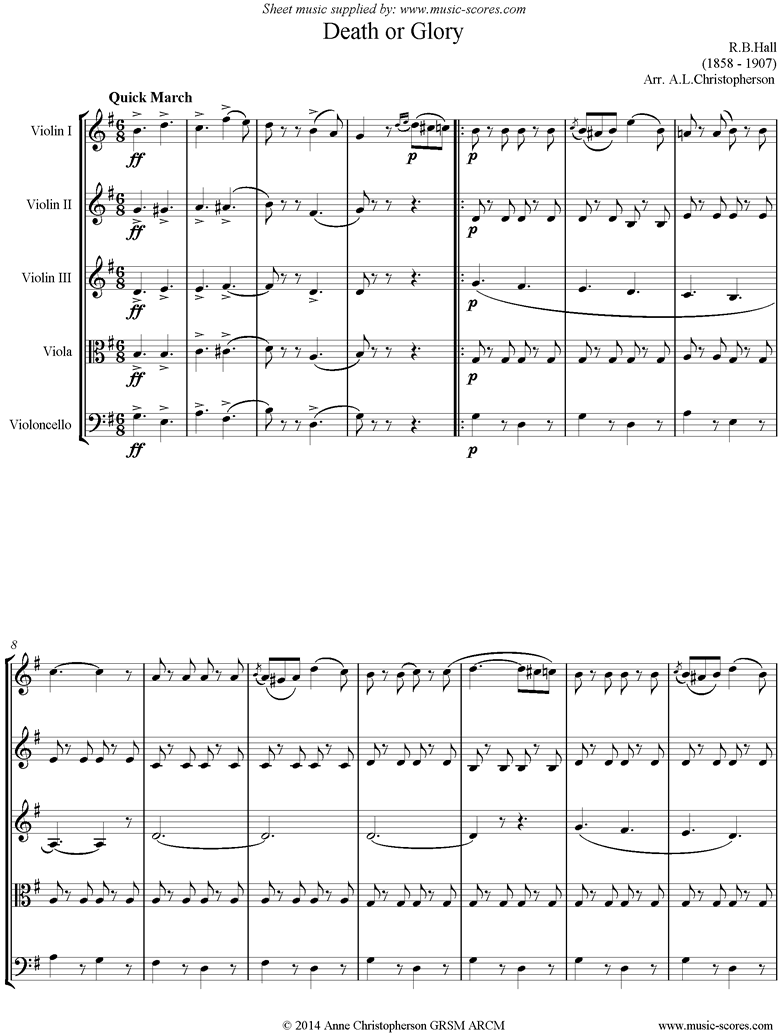 Front page of Death or Glory march: String Quintet sheet music