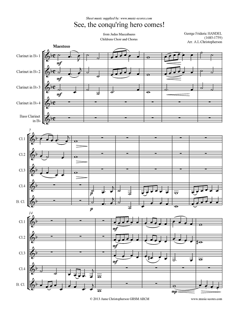 Front page of Judas Maccabaeus: See, the Conquering Hero: Clarinet choir sheet music