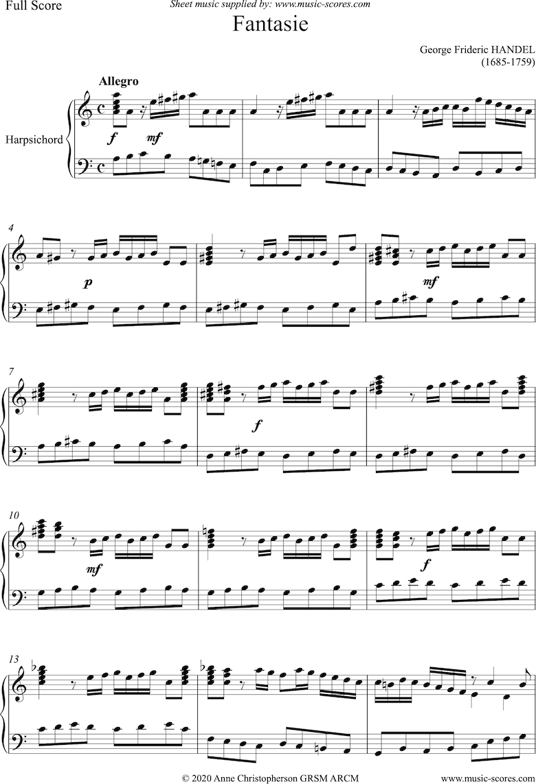 Front page of Fantasia in A minor: Harpsichord sheet music