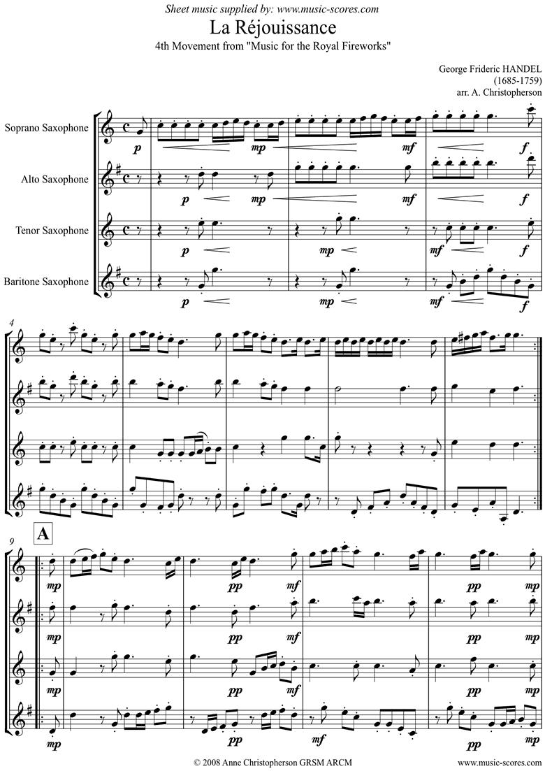 Fireworks Music: La R�jouissance: Sax Quartet by Handel
