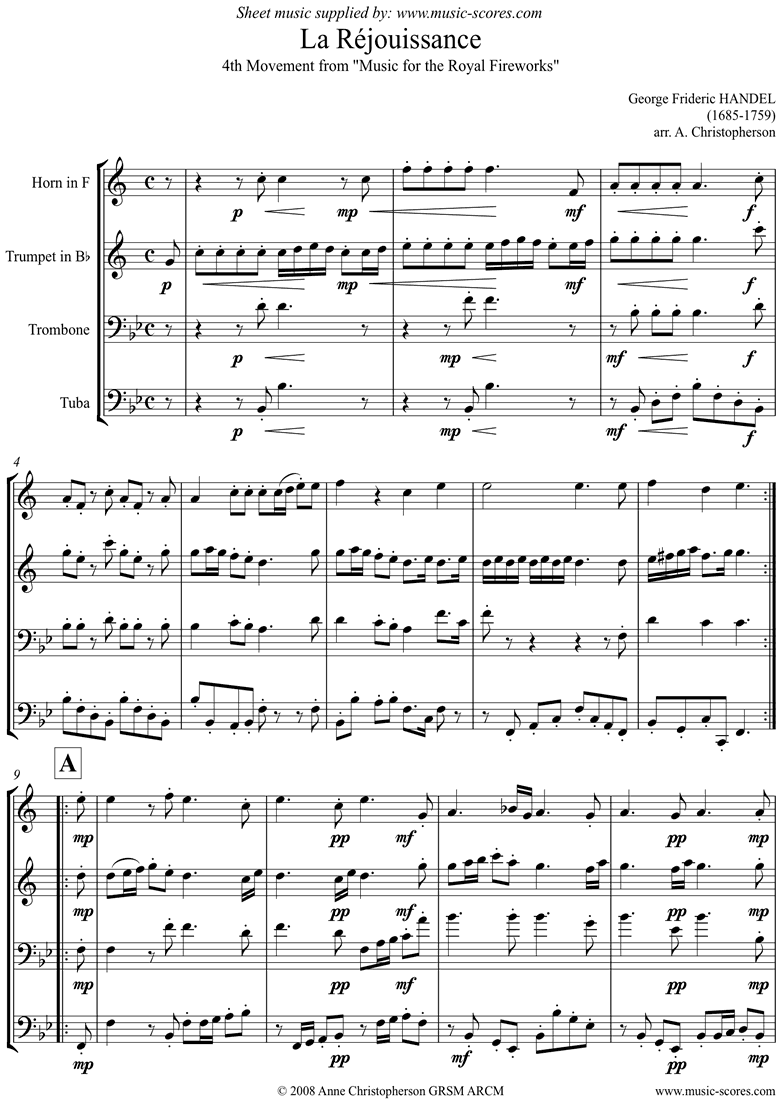 Front page of Fireworks Music: La Réjouissance: Brass Quartet sheet music