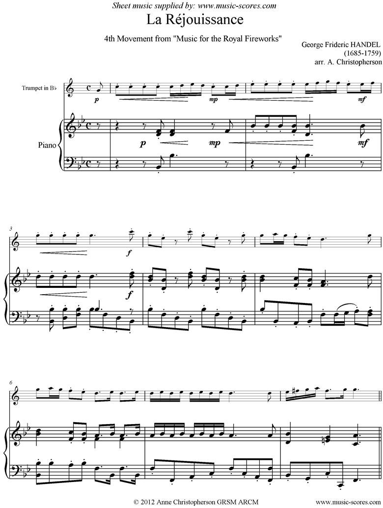 fireworks music la réjouissance trumpet sheet music by george frideric  handel  music-scores.com