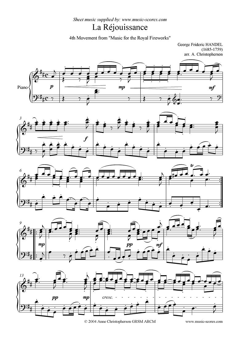 Front page of Fireworks Music: La Réjouissance Piano sheet music