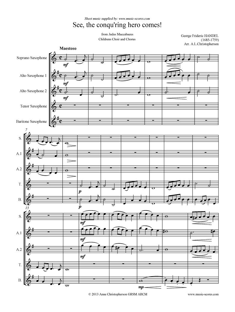 Judas Maccabaeus: See, the Conquering Hero: Sax quintet by Handel
