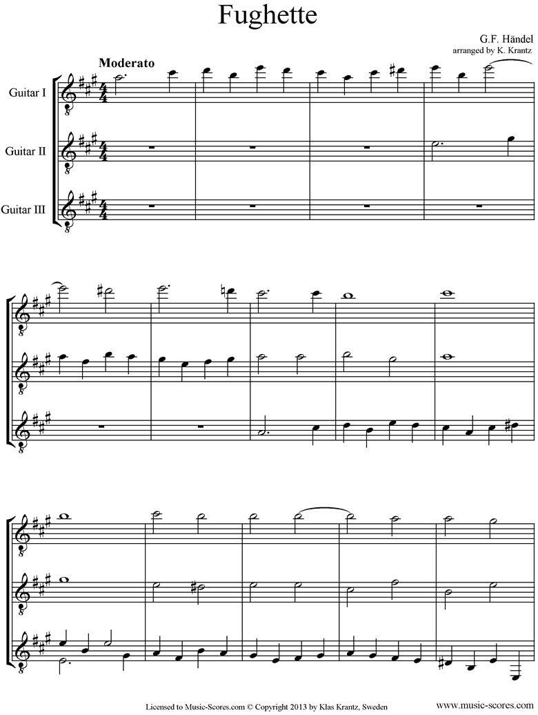 Fughette: 3 Guitars by Handel