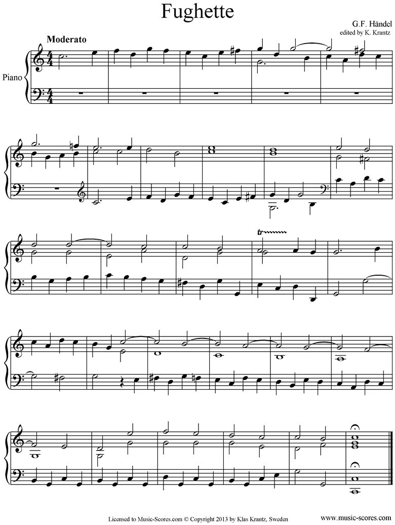 Front page of Fughette: Piano sheet music