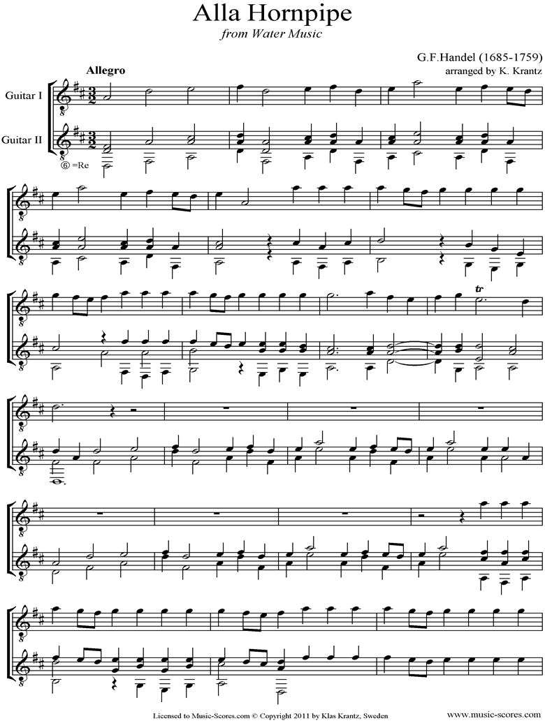 Front page of Water Music: Suite No.2: Alla Hornpipe:  Guitar Duet sheet music