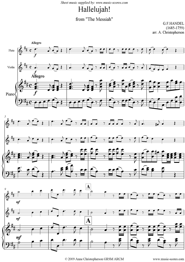 Front page of Messiah: Hallelujah Chorus: Flute, Violin, Piano sheet music