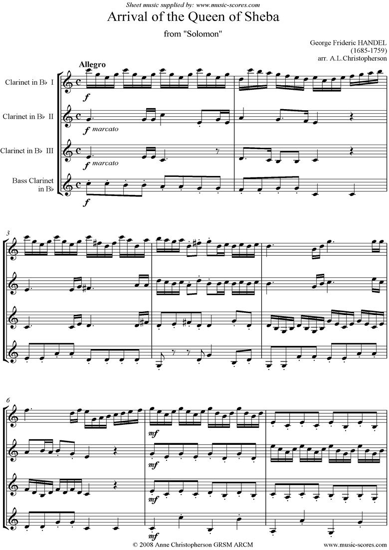 Solomon: Arrival of the Queen of Sheba: Clarinet 4 by Handel