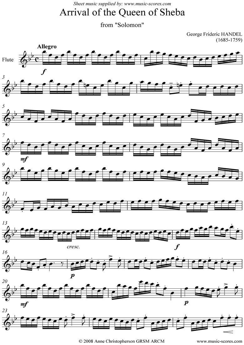 Front page of Solomon: Arrival of the Queen of Sheba: Flute solo sheet music