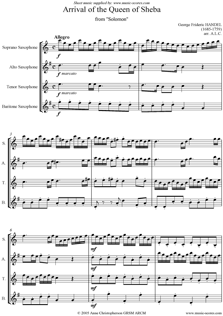 Front page of Solomon: Arrival of the Queen of Sheba: 4 Saxes sheet music