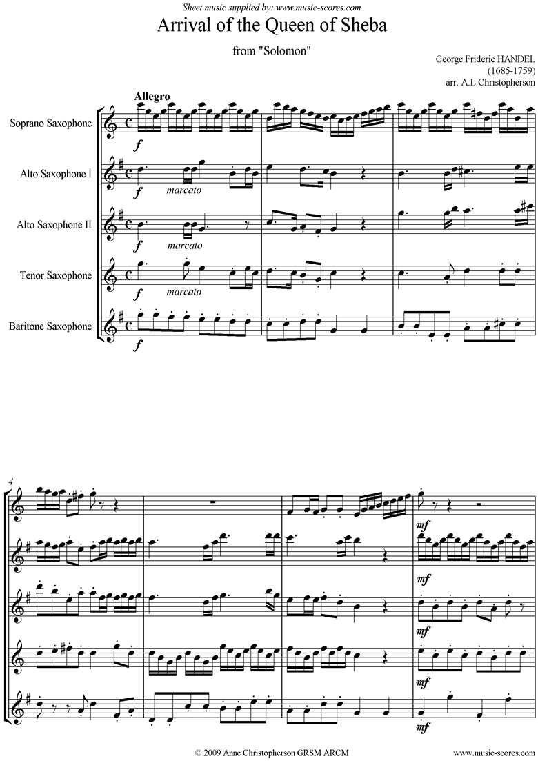 Solomon: Arrival of the Queen of Sheba: 5 Saxes by Handel