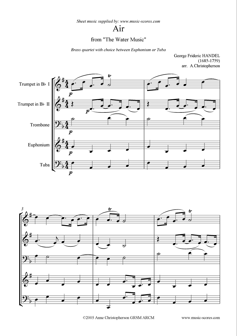 Front page of Water Music: Suite No.1: Air: Brass Quartet sheet music
