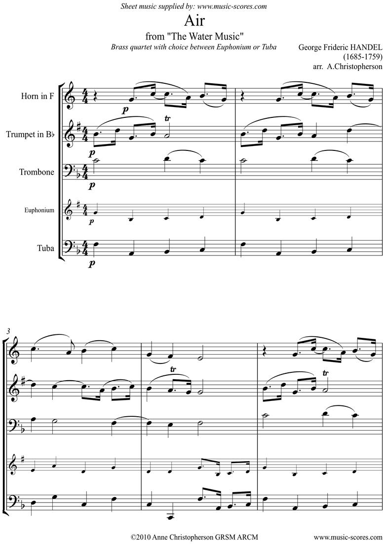 Water Music: Air: Trumpet, Horn, Trombone, Tuba by Handel