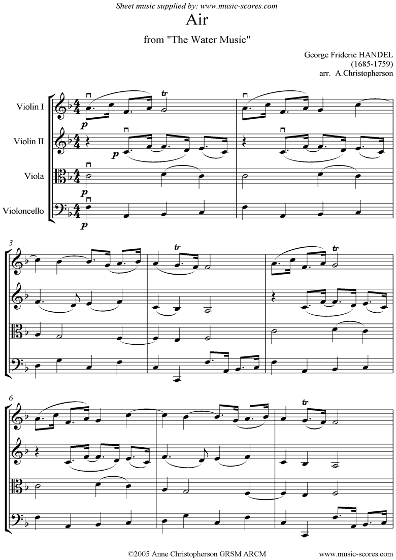 Front page of Water Music: Suite No.1: Air: String Quartet sheet music
