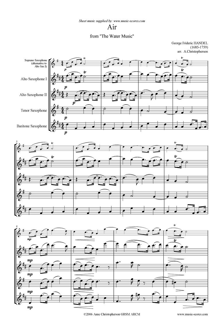 Water Music: Suite No.2: Air: Sax Quartet by Handel