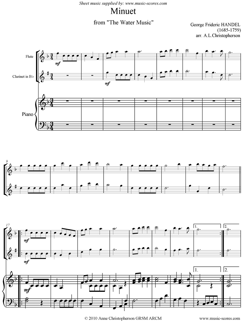 Front page of Water Music: Suite No.1: Minuet: Flute, Clarinet, Piano sheet music