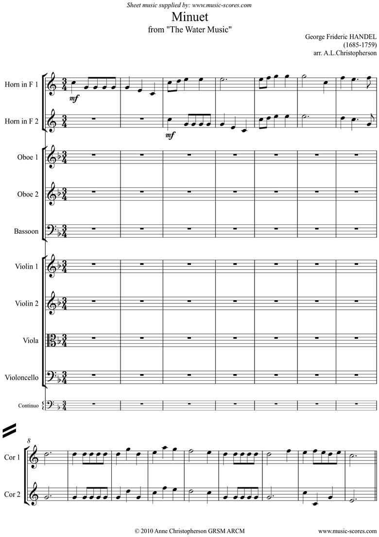 Front page of Water Music: Suite No.1: Minuet: Ensemble sheet music