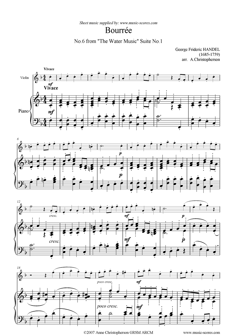 Front page of Water Music: Suite No.1: Bourree sheet music