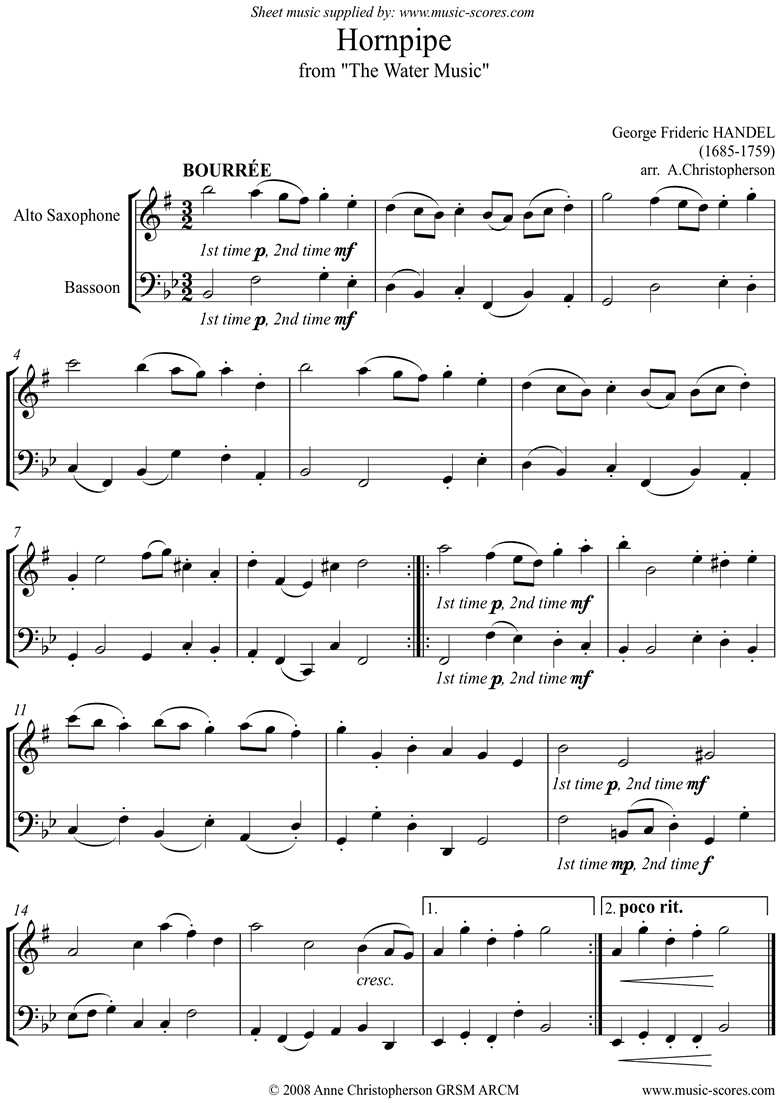 Front page of Water Music: Suite No.1: Hornpipe:Alto Sx, Bassoon sheet music