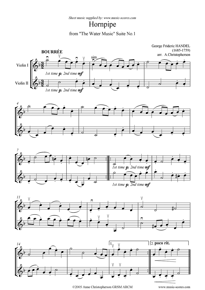 Front page of Water Music: Suite No.1: Hornpipe: 2 Violins sheet music