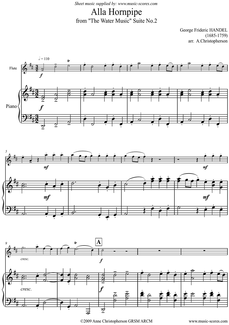 Front page of Water Music: Suite No.2: Alla Hornpipe: Flute: Dma sheet music