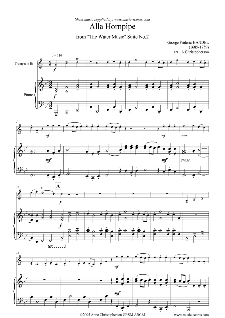 Water Music: Suite No.2: Alla Hornpipe: Trumpet by Handel
