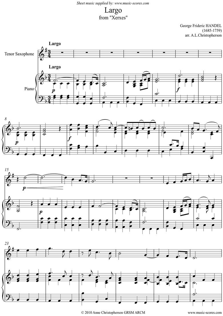 Xerxes: Largo: Tenor Sax by Handel